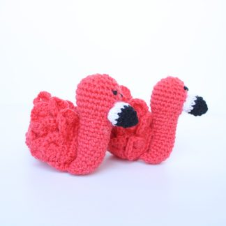 Pair of Newborn Booties in shape of flamingo in coral pink