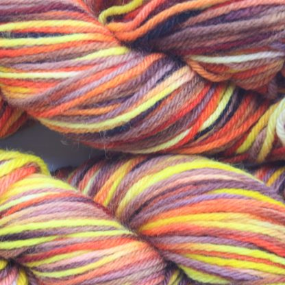 Pilbara Summer hand dyed merino yarn close up
