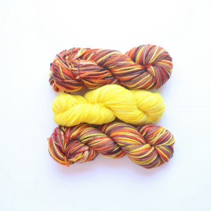 2 skeins of Pilbara Summer hand dyed merino yarn in orange, chestnut and yellow with 1 skein of Spring Daffodil hand dyed merino yarn in yellow