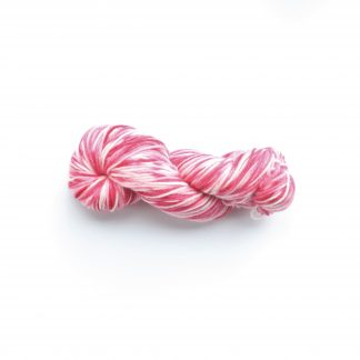 1 skein of hand dyed merino yarn in raspberry & cream