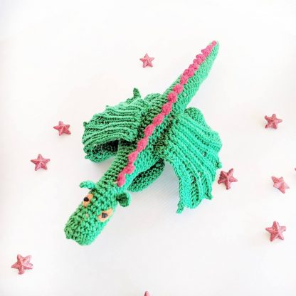 Dart the Christmas Dragon in green with red scales