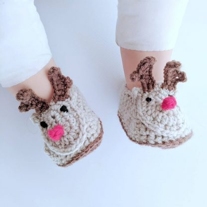 Rudolph Reindeer Newborn Booties on feet