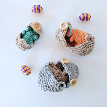 Dinosaur Hatchlings Orange, Teal and Taupe breaking out