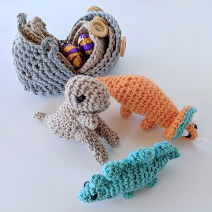 Dinosaur Hatchlings Orange, Teal and Taupe with eggs