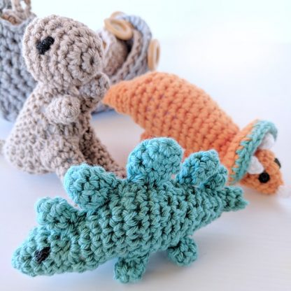 Dinosaur Hatchlings Orange, Teal and Taupe close up