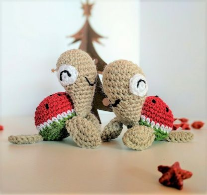 Mother and Baby Turtle in Christmas Watermelon Colours of Red, Green and Beige