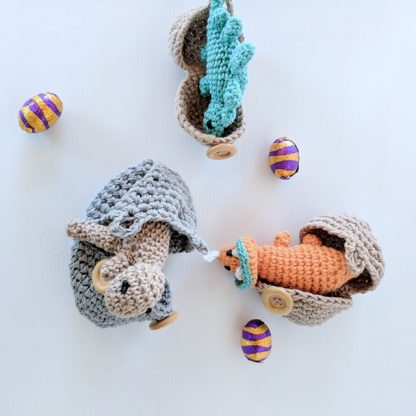 Taupe, Orange and Teal Dinosaur Hatchlings emerging from eggs