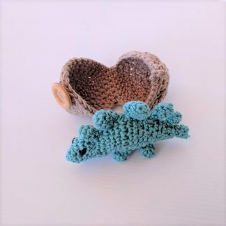 Teal Stegosaurus Dinosaur Hatchling with Egg
