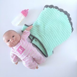 Doll Carrier Mint with Charcoal Edging