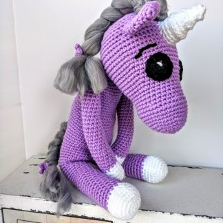 Purple unicorn with soft grey mane