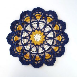 Navy, Mustard, Cream large cotton crocheted doily